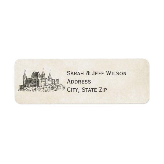 Etiquetas de endereço do remetente do castelo do etiqueta endereço de retorno