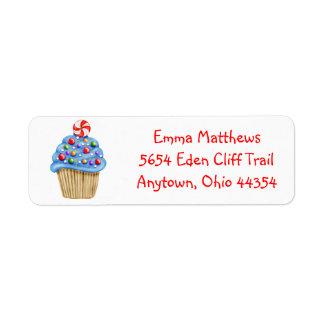 Etiquetas de endereço do remetente do cupcake dos etiqueta endereço de retorno