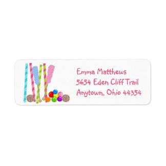 Etiquetas de endereço do remetente doces dos doces etiqueta endereço de retorno