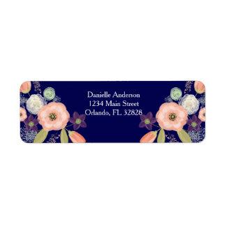 Etiquetas de endereço do remetente florais da etiqueta endereço de retorno
