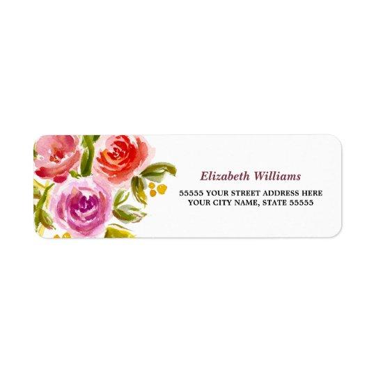 Etiquetas de endereço do remetente florais do