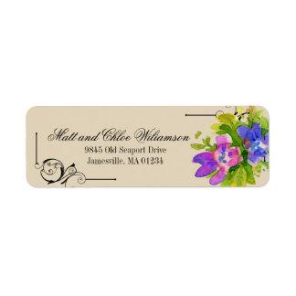 Etiquetas de endereço do remetente florais roxas