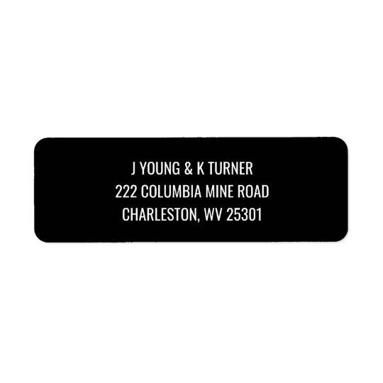 Etiquetas de endereço do remetente modernas pretas etiqueta endereço de retorno