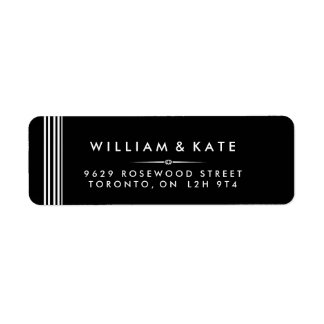 Etiquetas de endereço do remetente preto e branco