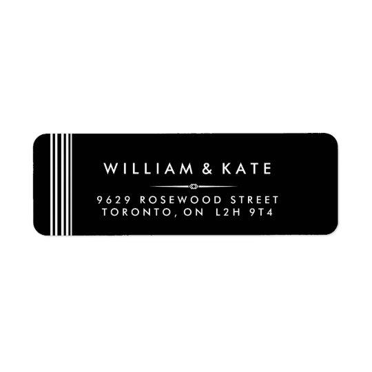 Etiquetas de endereço do remetente preto e branco etiqueta endereço de retorno