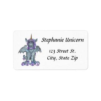 Etiquetas de endereço do unicórnio do gótico