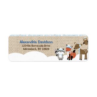 Etiquetas de endereço dos animais da floresta do