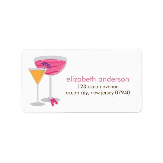 Etiquetas de endereço dos cocktail do verão etiqueta de endereço