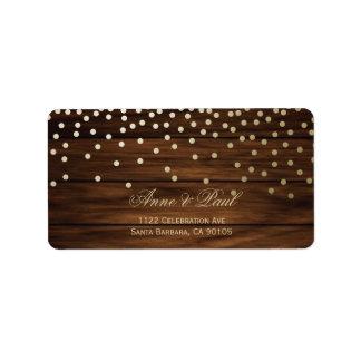 Etiquetas de endereço dos confetes e da madeira etiqueta de endereço