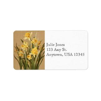 Etiquetas de endereço dos Daffodils do vintage Etiqueta De Endereço