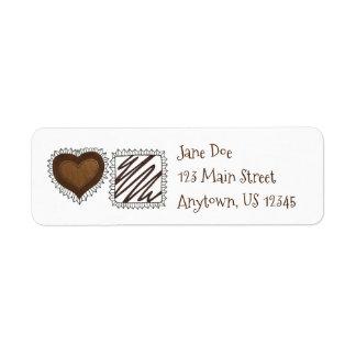 Etiquetas de endereço dos namorados dos doces do etiqueta endereço de retorno