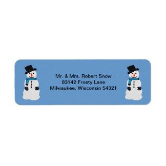 Etiquetas de endereço felizes do boneco de neve