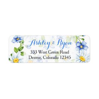 Etiquetas de endereço florais azuis do casamento