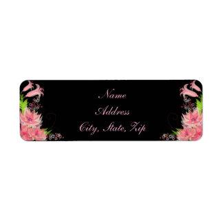 Etiquetas de endereço florais cor-de-rosa