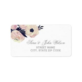 Etiqueta Etiquetas de endereço florais cor-de-rosa azuis &