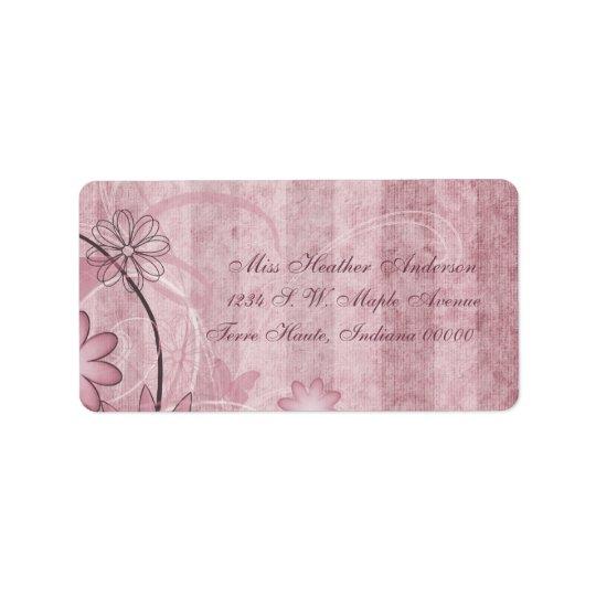 Etiquetas de endereço florais cor-de-rosa feitas
