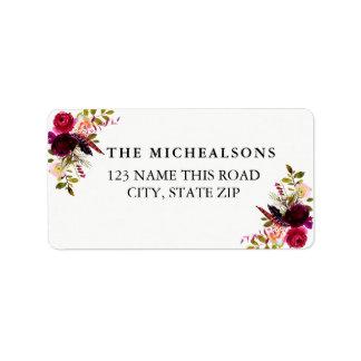 Etiquetas de endereço florais da aguarela de