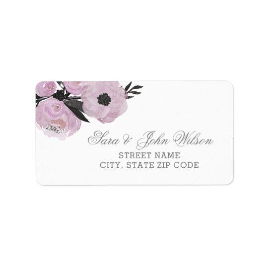 Etiquetas de endereço florais da aguarela roxa