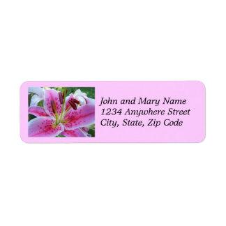 Etiquetas de endereço florais do lírio cor-de-rosa