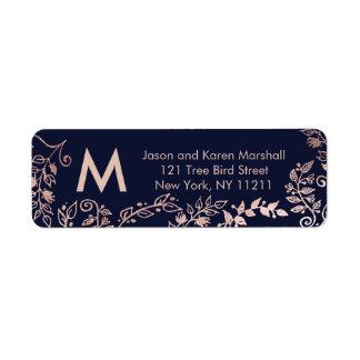 Etiquetas de endereço florais do ouro do rosa dos