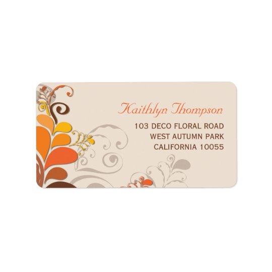 Etiquetas de endereço florais dos redemoinhos de etiqueta de endereço