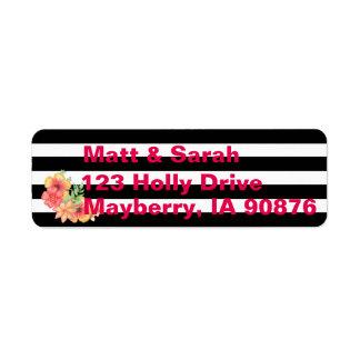 Etiquetas de endereço florais modernas da listra