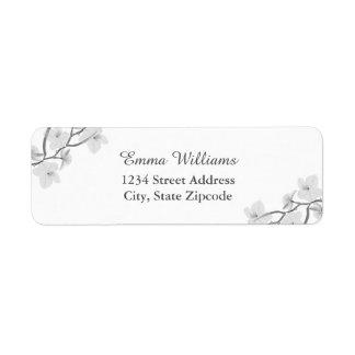 Etiquetas de endereço florais preto e branco