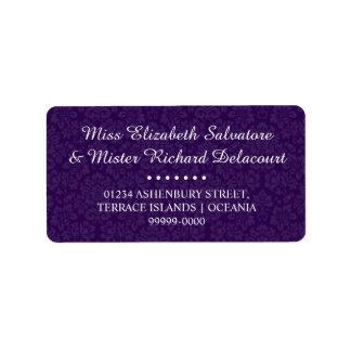 Etiquetas de endereço góticos roxas do casamento