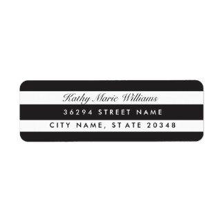 Etiquetas de endereço listradas pretas chiques etiqueta endereço de retorno