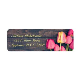 Etiquetas de endereço--Madeira cor-de-rosa escura
