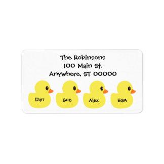 """Etiquetas de endereço personalizadas dos """"patos"""""""