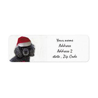Etiquetas de endereço pretas da caniche do Natal