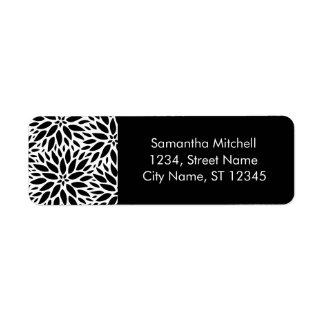 Etiquetas de endereço preto e branco modernas das