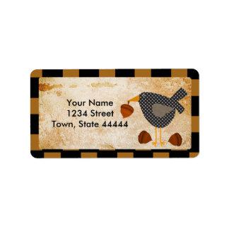 Etiquetas de endereço Prim do corvo e das bolotas Etiqueta De Endereço