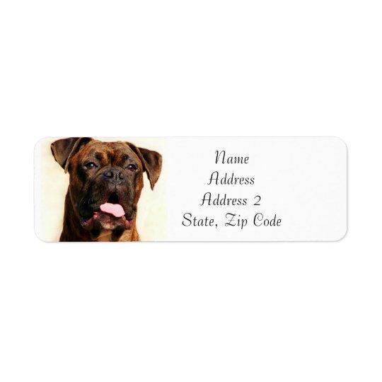 Etiquetas de endereço rajados do cão do pugilista