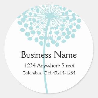 Etiquetas de endereço redondas da flor azul do