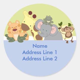 Etiquetas de endereço redondas - safari de selva adesivo em formato redondo