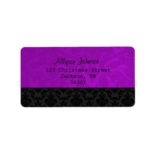 Etiquetas de endereço roxas & pretas do vintage etiqueta de endereço