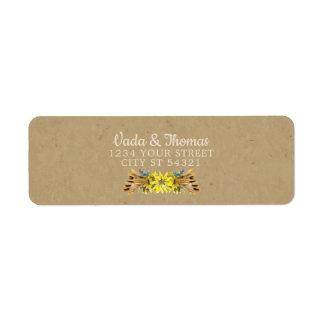 Etiquetas de endereço rústicas do girassol