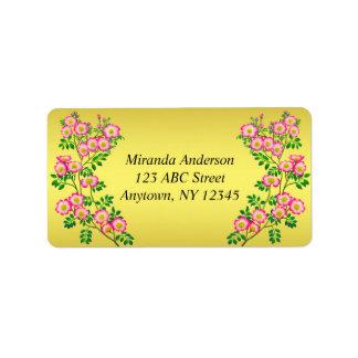 Etiquetas de endereço selvagens dos rosas do país  etiqueta de endereço