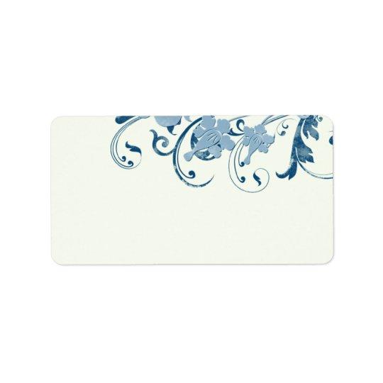 Etiquetas de endereço vazio florais azuis marinhas etiqueta de endereço