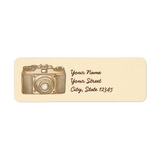Etiquetas de endereço velhas da câmera