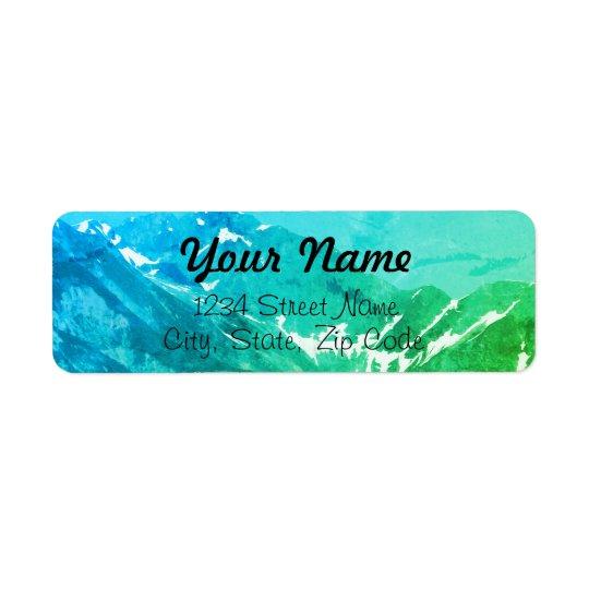 Etiquetas de endereço verdes das montanhas do etiqueta endereço de retorno