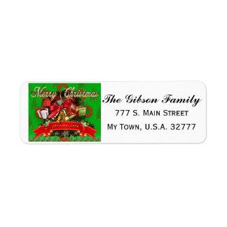 Etiquetas de endereço verdes vermelhas elegantes
