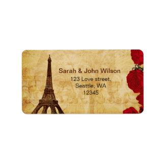 etiquetas de endereço vermelhas de Paris da torre