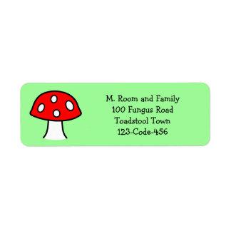 Etiquetas de endereço vermelhas do cogumelo