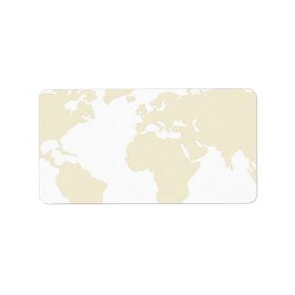 Etiquetas de envio pelo correio - mapa do mundo do