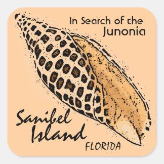 Etiquetas de Florida da ilha de Sanibel do escudo Adesivo Quadrado