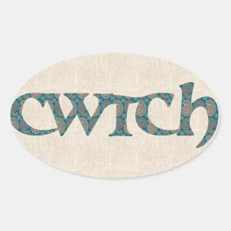 Adesivo Oval Etiquetas de Galês Cwtch do divertimento, teste