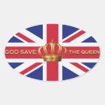 Etiquetas de hino nacional do Reino Unido Adesivos Oval